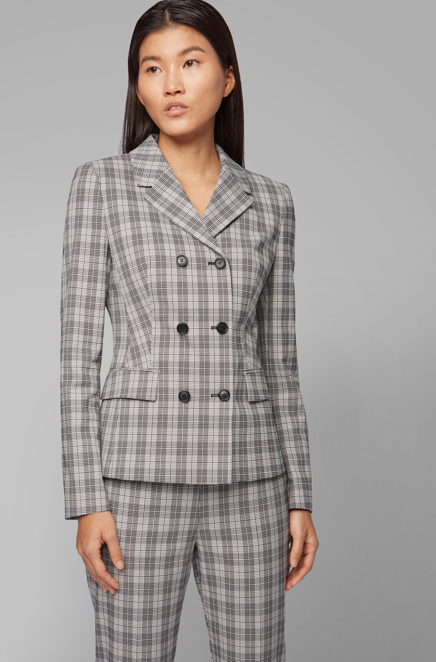 Double-breasted jacket in a Glen-check cotton blend, Patterned