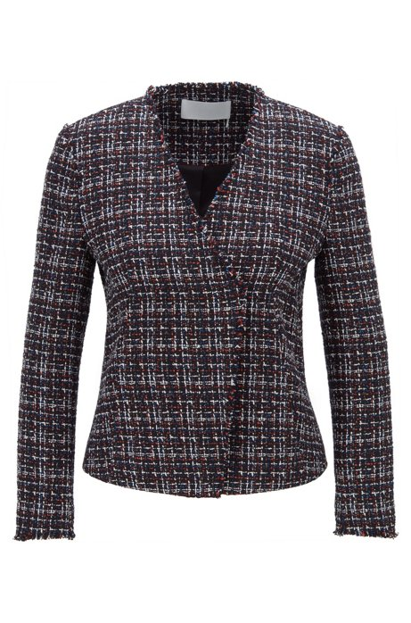 Collarless jacket in Italian tweed with fringed edges, Patterned
