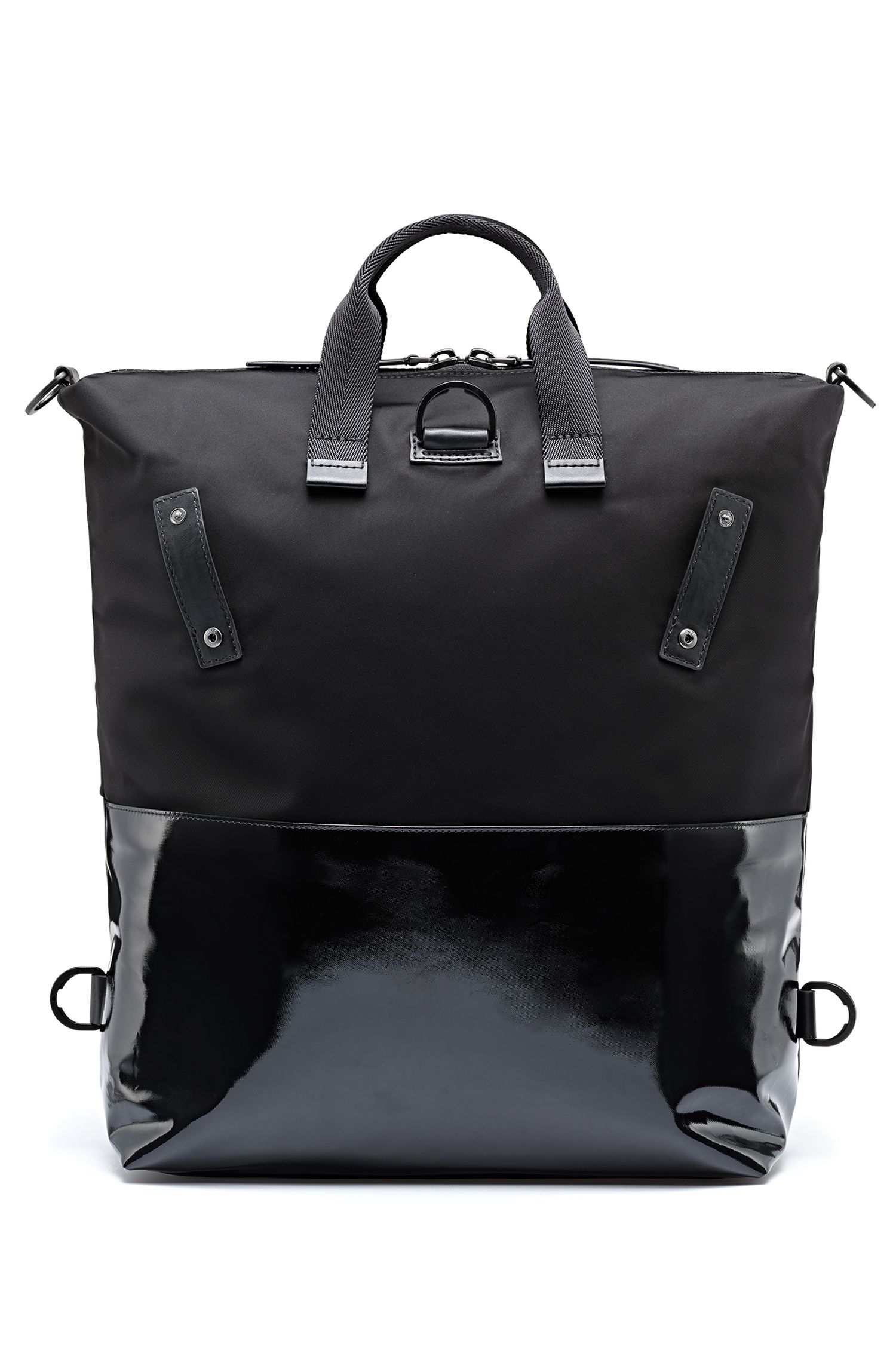 Convertible tote in nylon gabardine with coated trims, Black