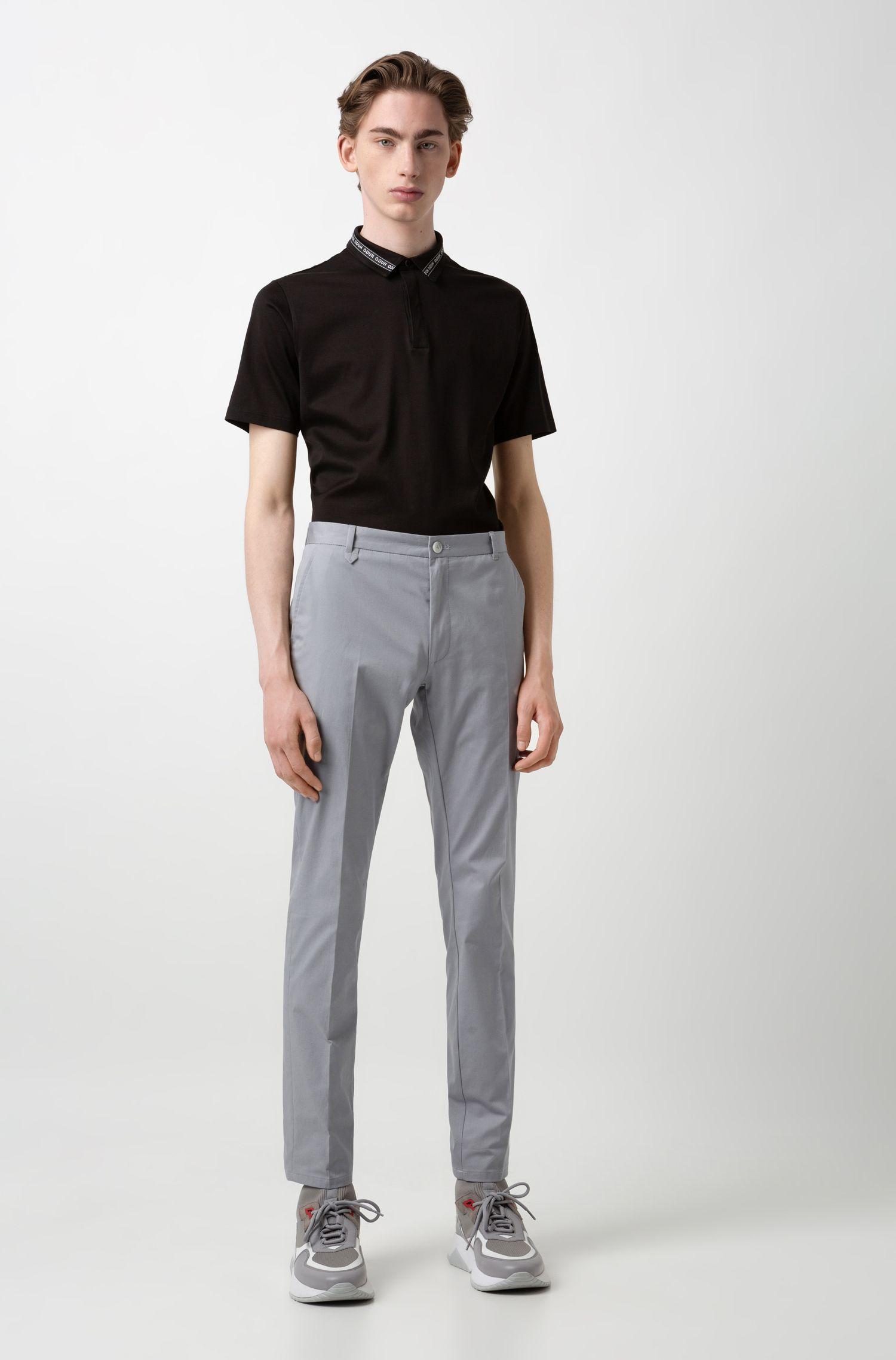 Poloshirt aus merzerisierter Baumwolle mit Logo-Tape am Kragen, Schwarz