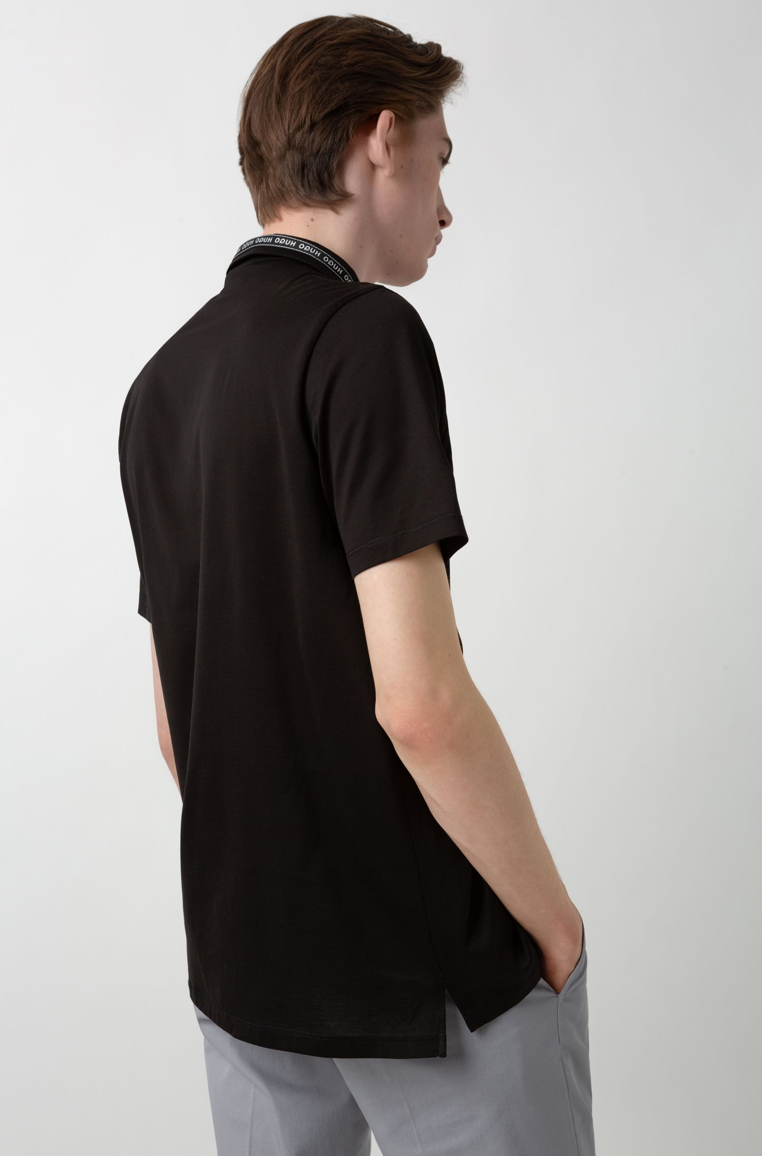 Slim-fit polo shirt in mercerised cotton with logo-tape collar, Black