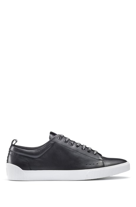 Low-top trainers in nappa leather with logo laces, Black