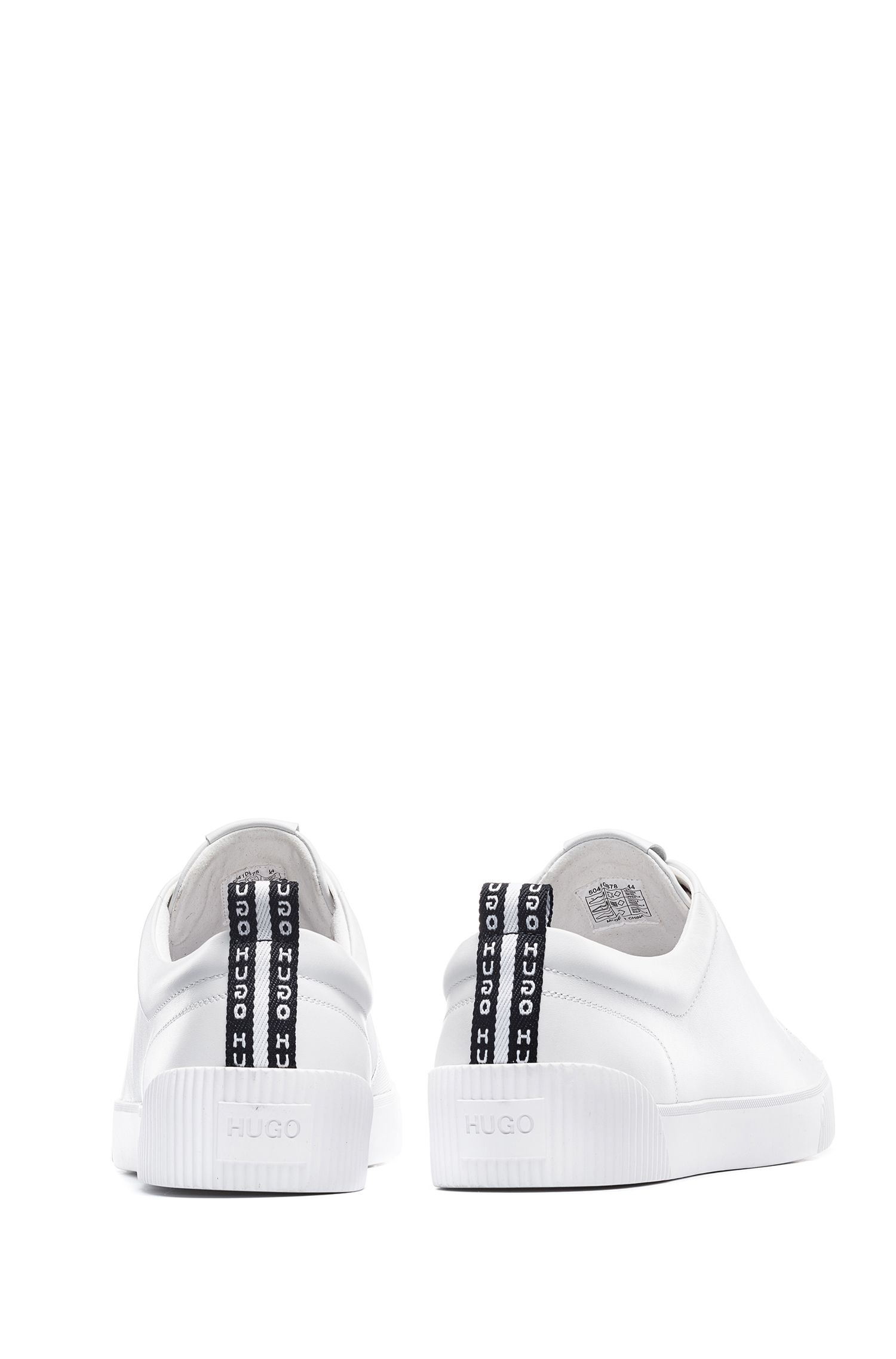 Low-top trainers in nappa leather with logo laces, White