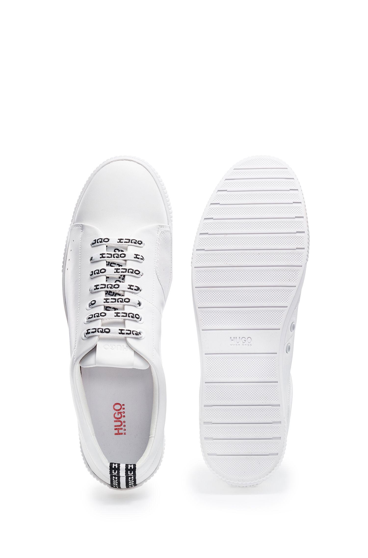 Baskets basses en cuir nappa avec lacets à logo, Blanc