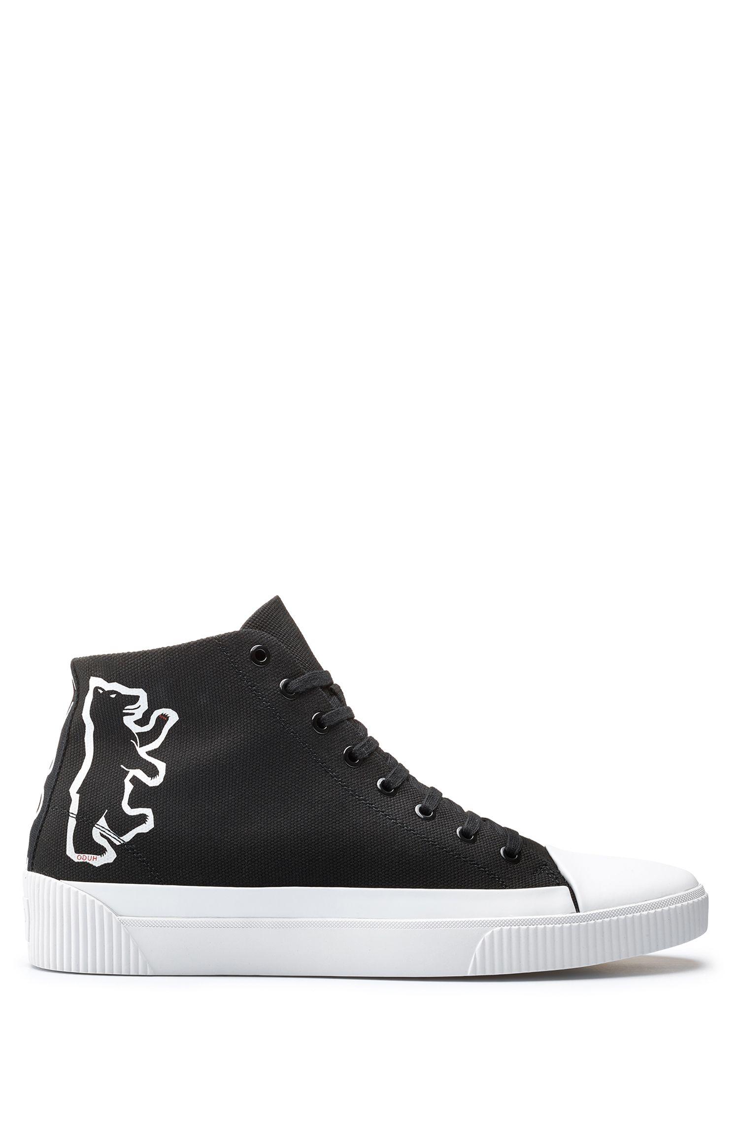 Hoge canvas sneakers met beerdessin, Zwart