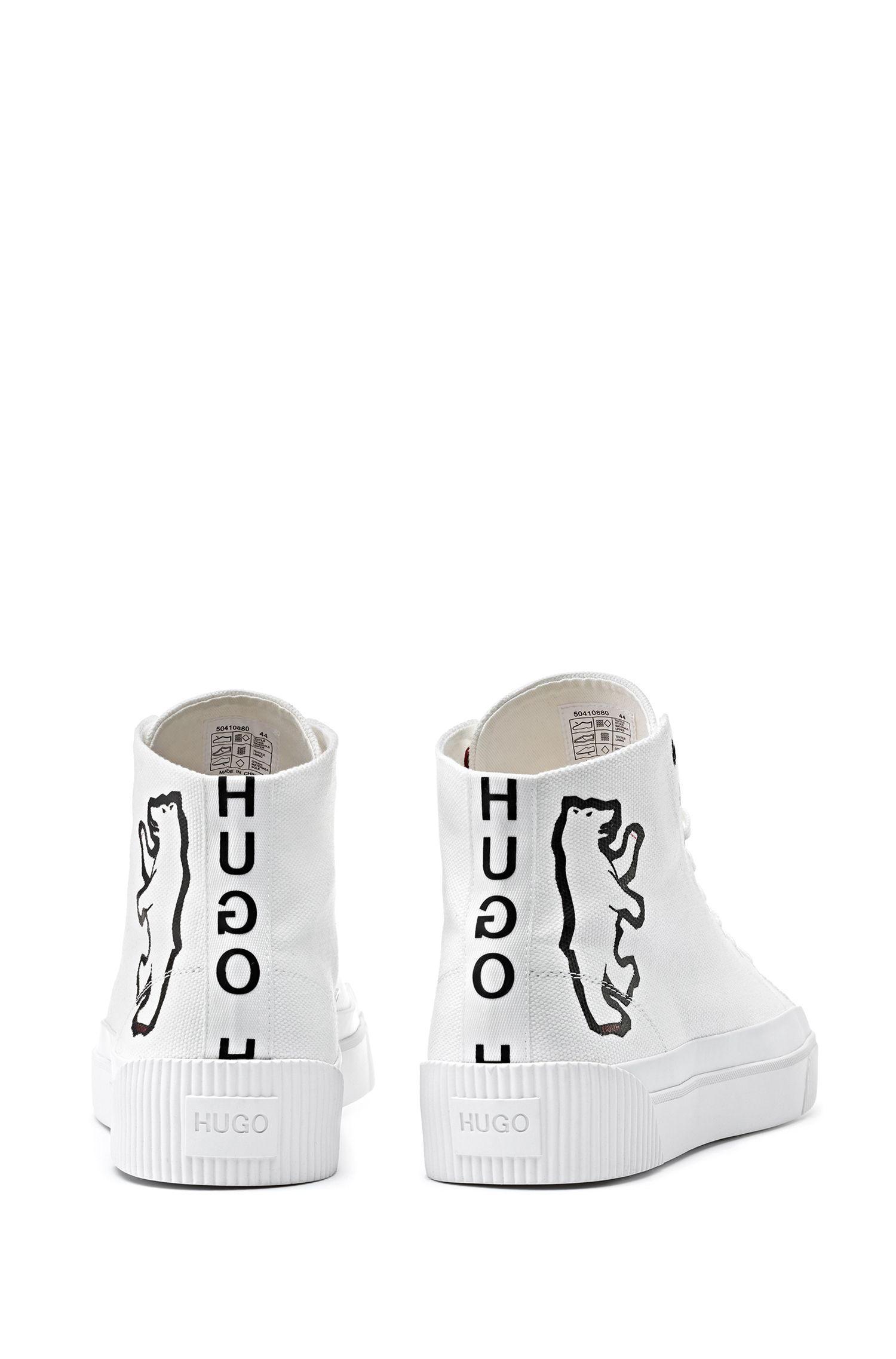 High-top canvas trainers with bear motif, White