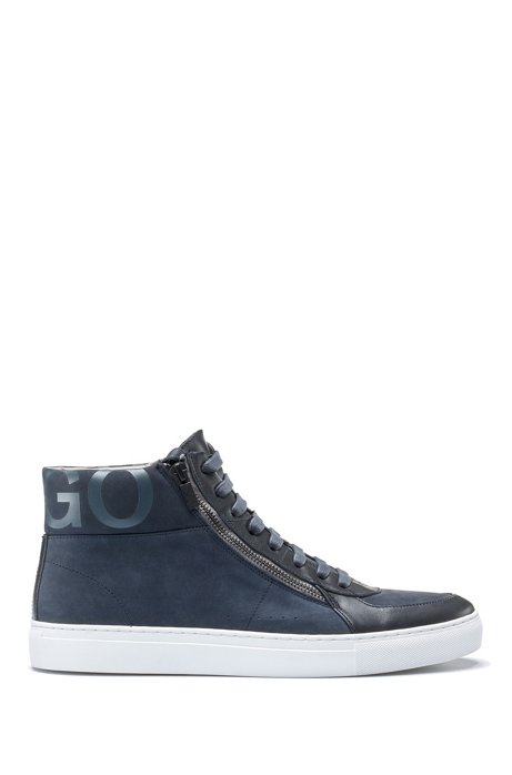 Sneakers high-top in pelli miste con doppia zip e colletto con logo, Blu scuro