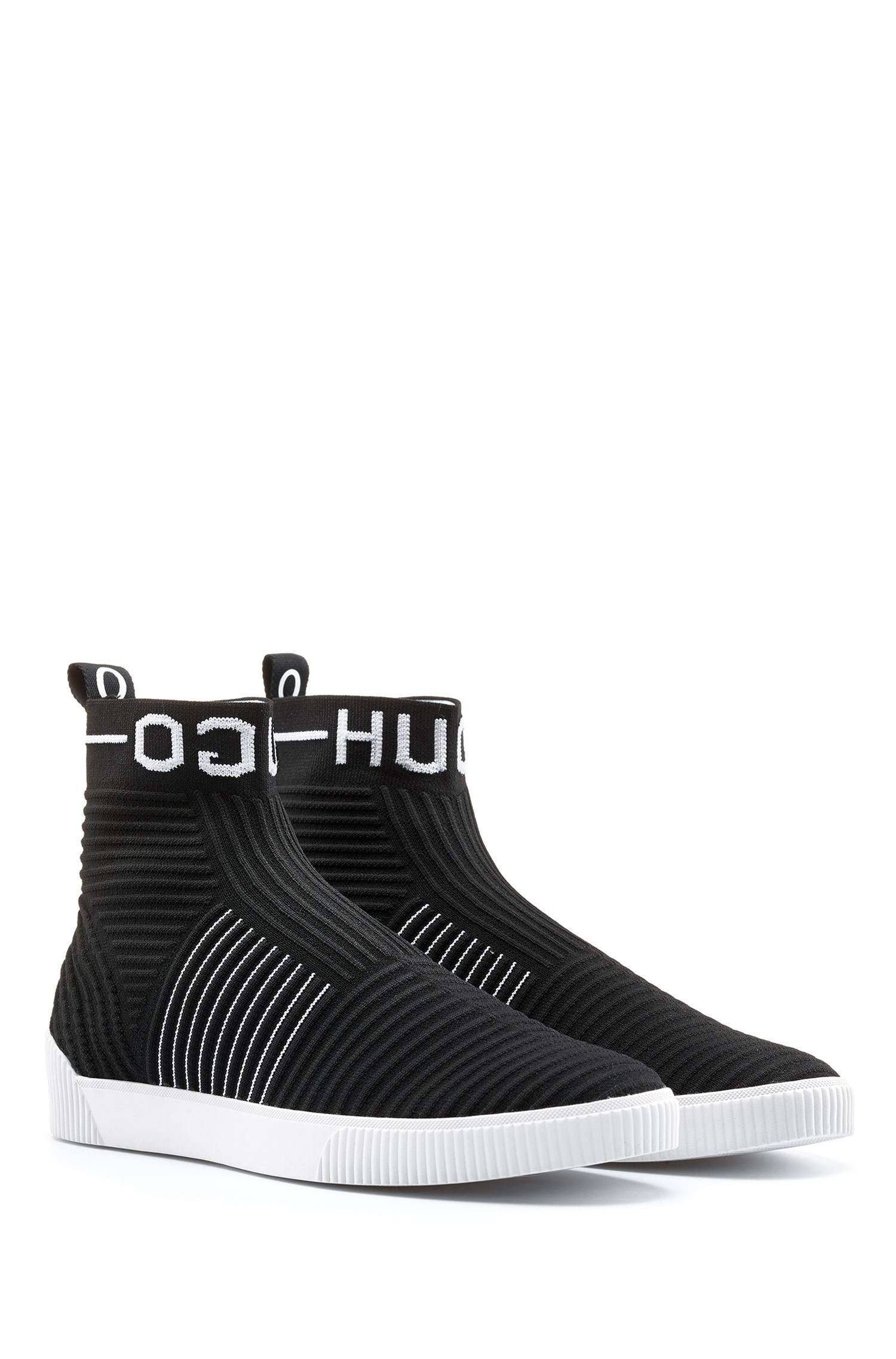 Reverse-logo high-top sock trainers in knitted fabric, Black
