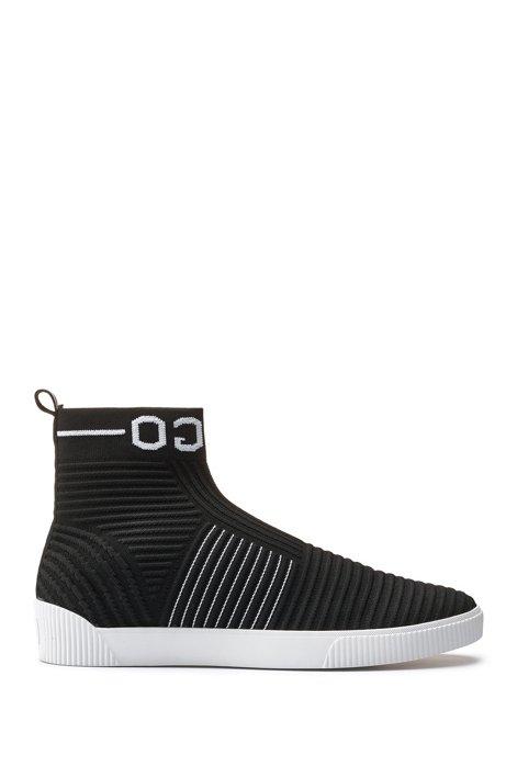 Baskets chaussettes montantes en maille à logo inversé, Noir