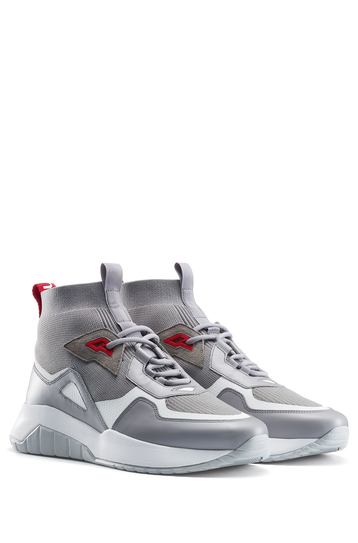 Chunky trainers in mixed materials with knitted sock, Grey