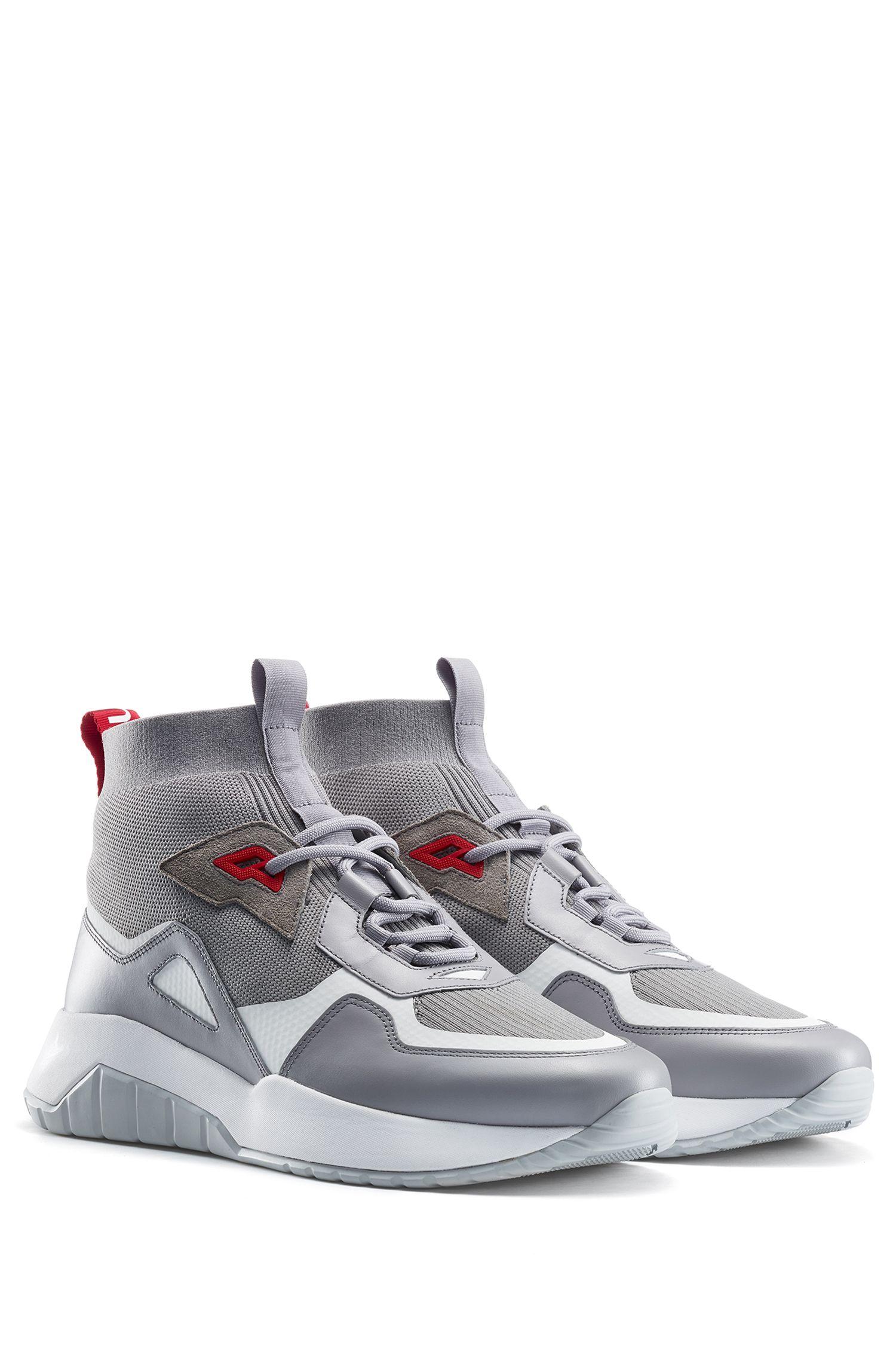 Sneakers mit Stricksocke und dicker Sohle, Grau