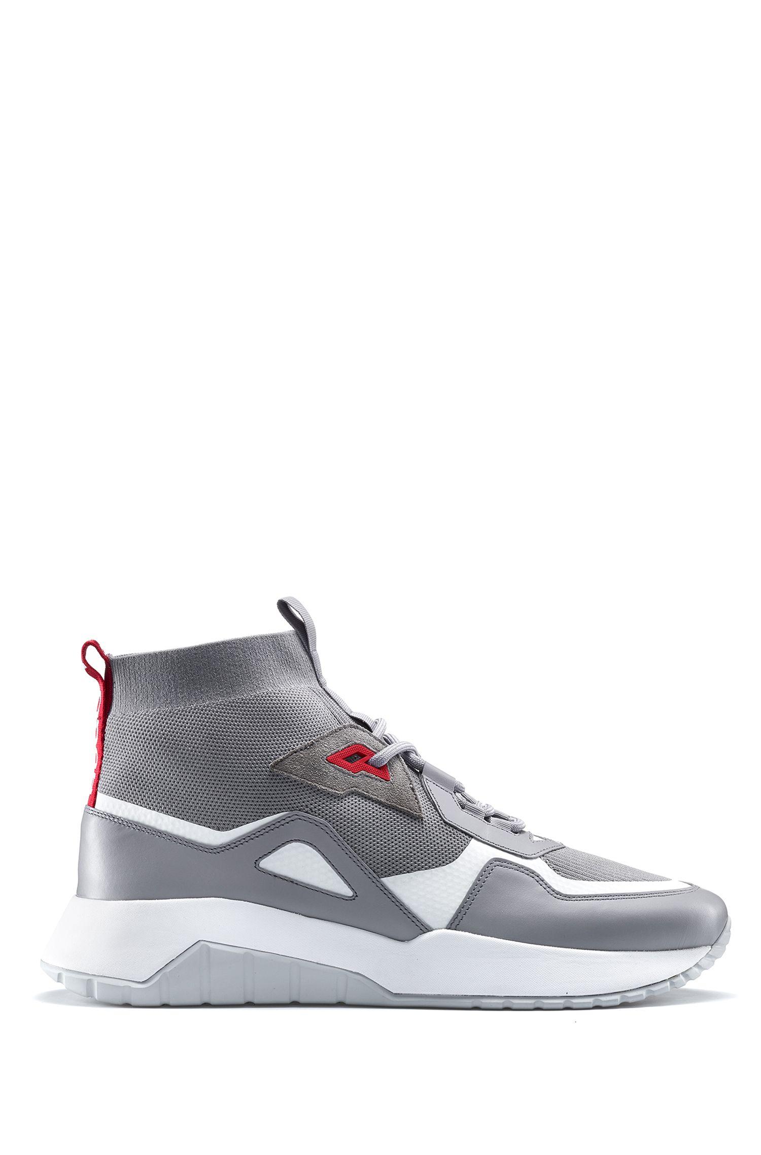Chunky sneakers in materiali misti con calza in maglia, Grigio