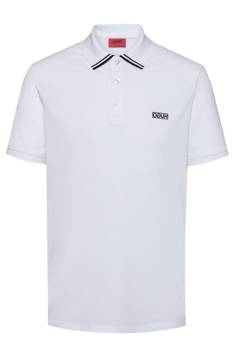 Reverse-logo polo shirt in cotton piqué, White