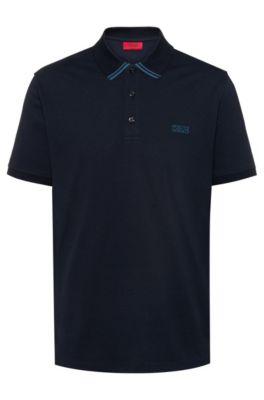 Poloshirt aus Baumwoll-Piqué mit spiegelverkehrtem Logo, Dunkelblau