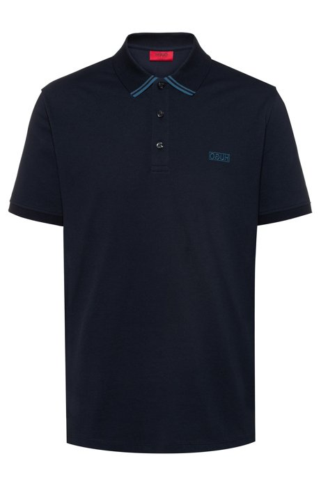 Reverse-logo polo shirt in cotton piqué, Dark Blue