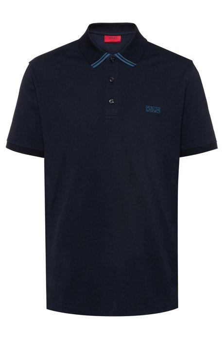 Polo en piqué de coton avec logo inversé, Bleu foncé