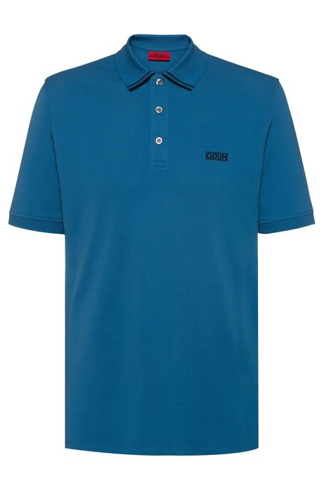 Reverse-logo polo shirt in cotton piqué, Blue