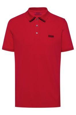 Poloshirt van katoenpiqué met gespiegeld logo, Rood