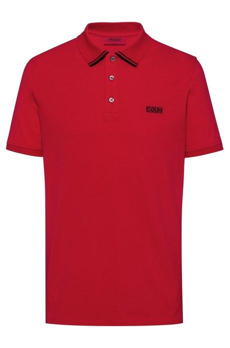 Poloshirt aus Baumwoll-Piqué mit spiegelverkehrtem Logo, Rot