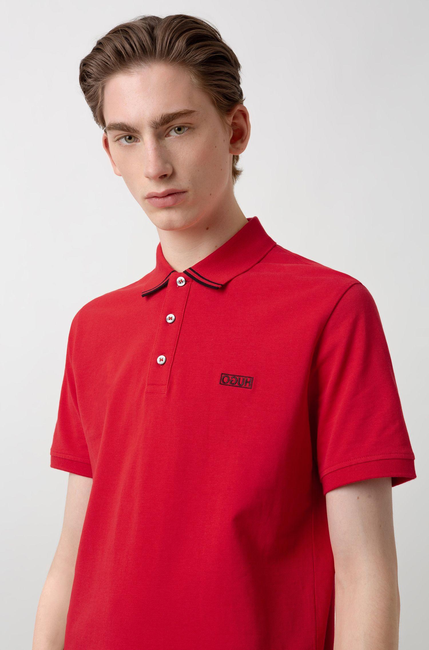 Polo en piqué de coton avec logo inversé, Rouge