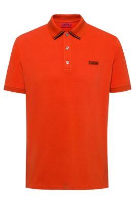 Poloshirt van katoenpiqué met gespiegeld logo, Oranje