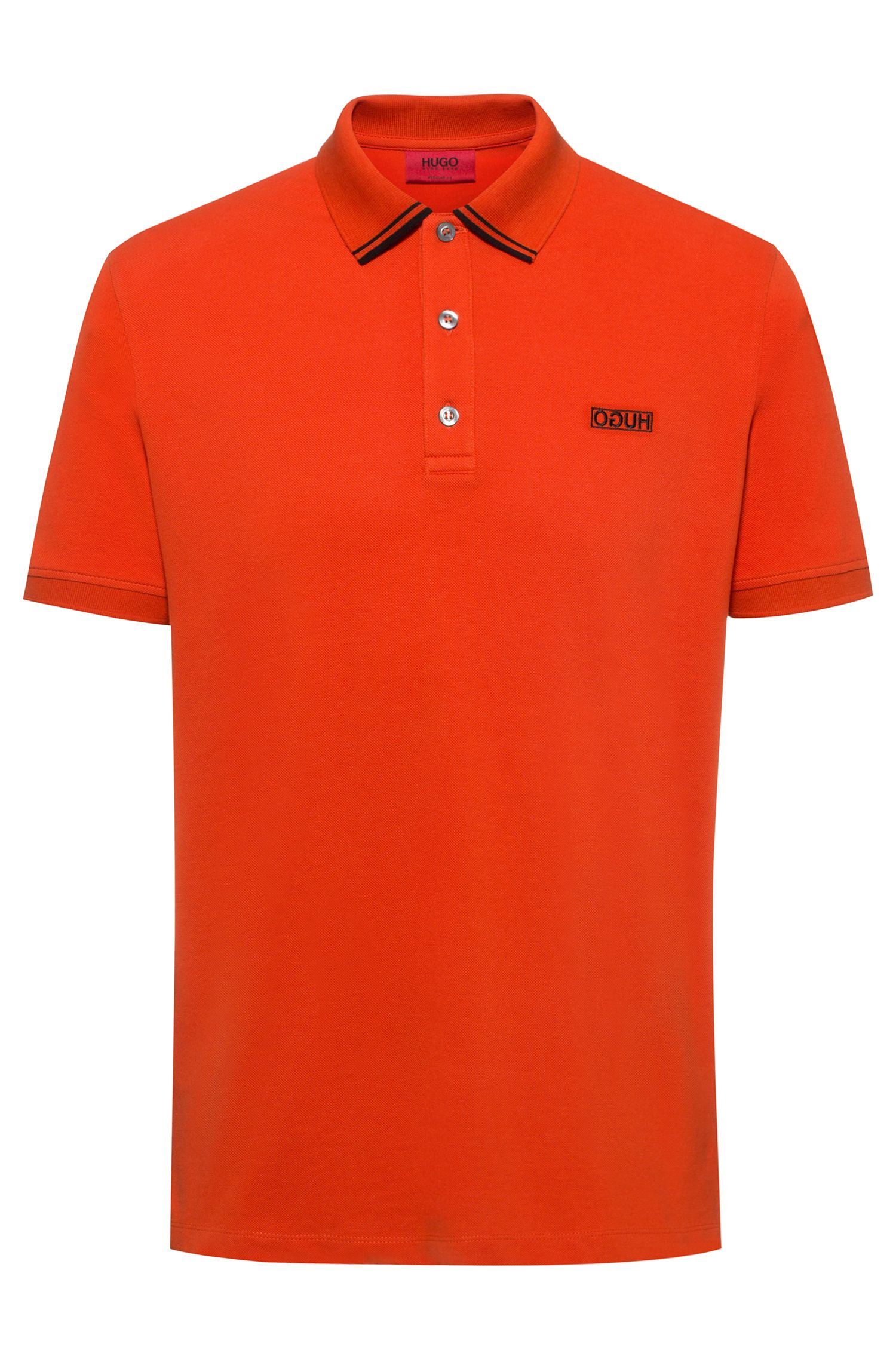 Polo en piqué de coton avec logo inversé, Orange