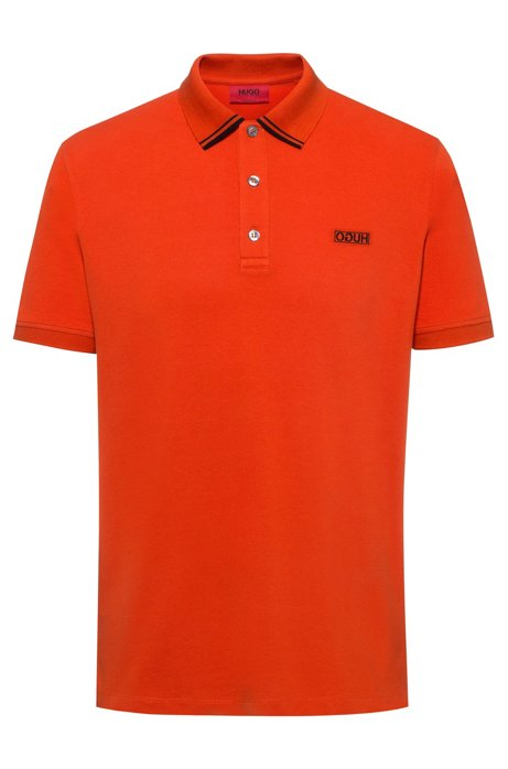 Reverse-logo polo shirt in cotton piqué, Orange