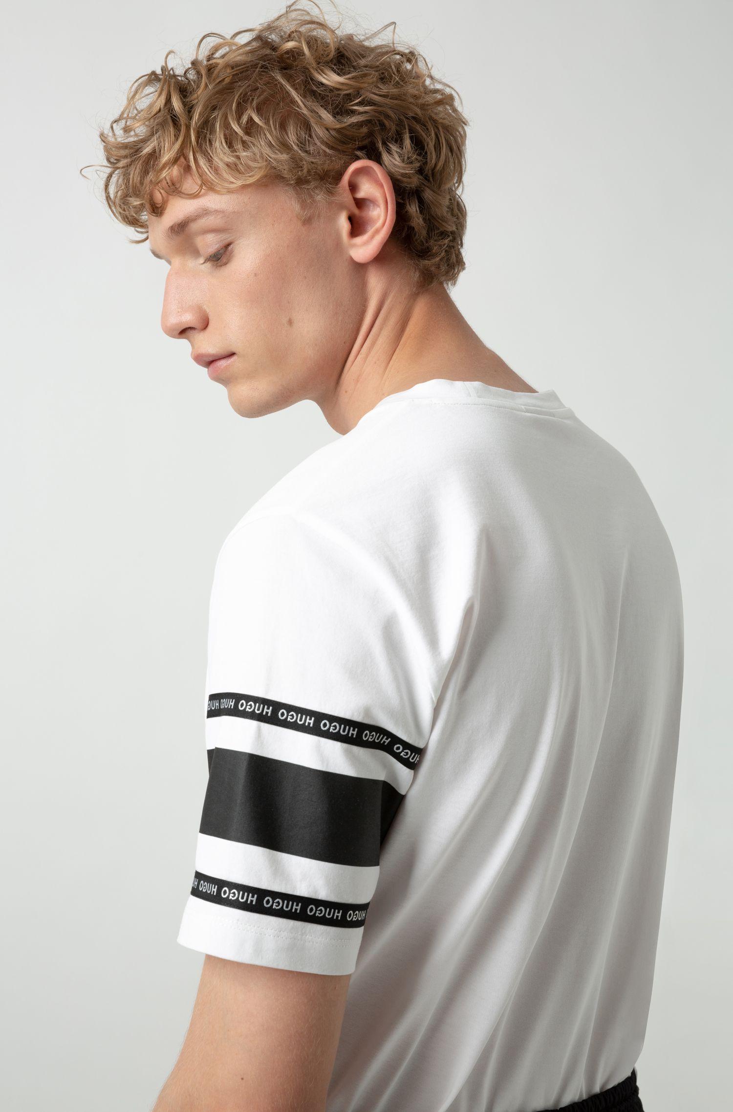 T-Shirt aus Baumwoll-Jersey mit Reversed-Logo, Weiß