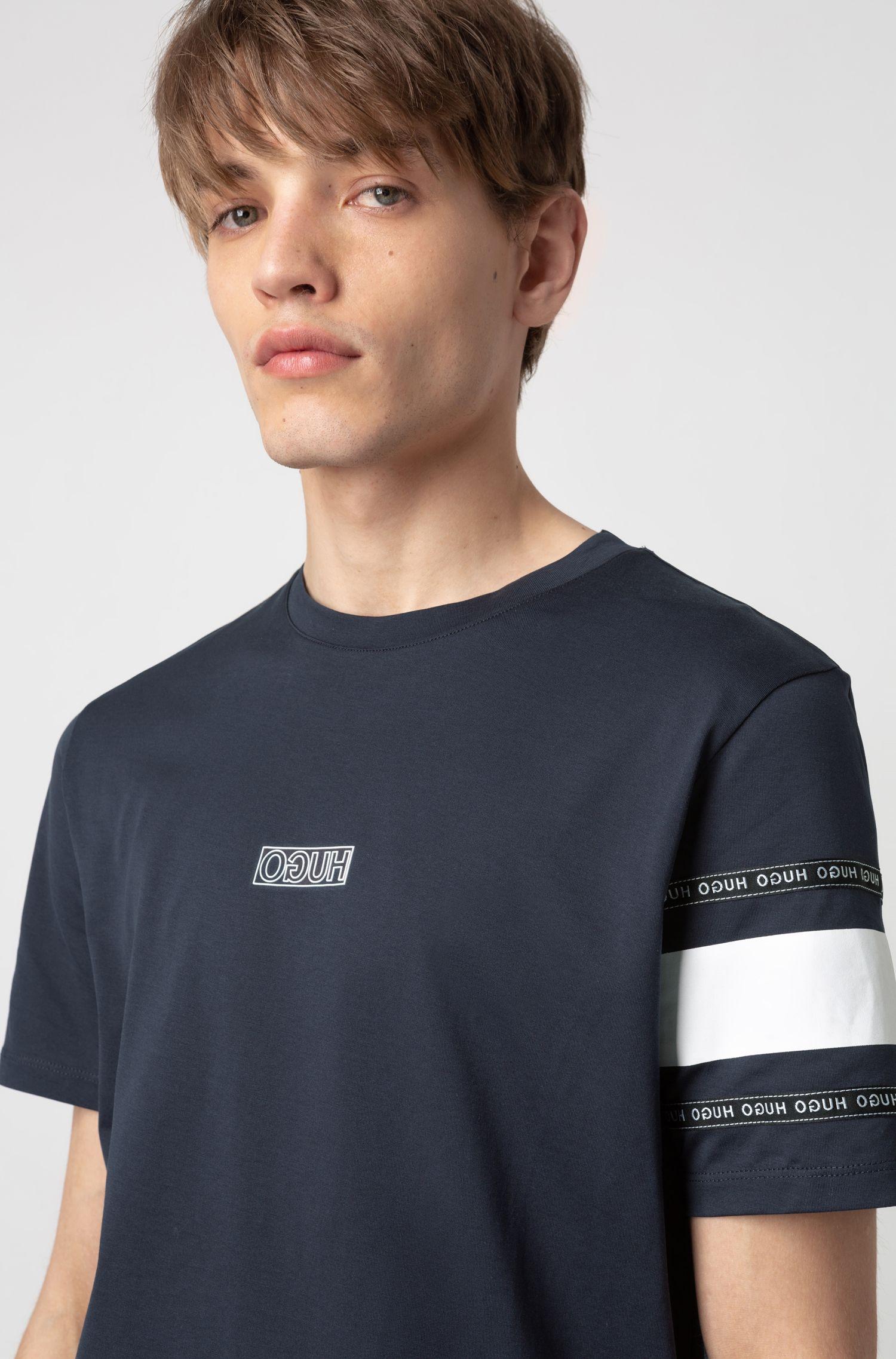 T-shirt van katoenjersey met gespiegeld logo, Donkerblauw