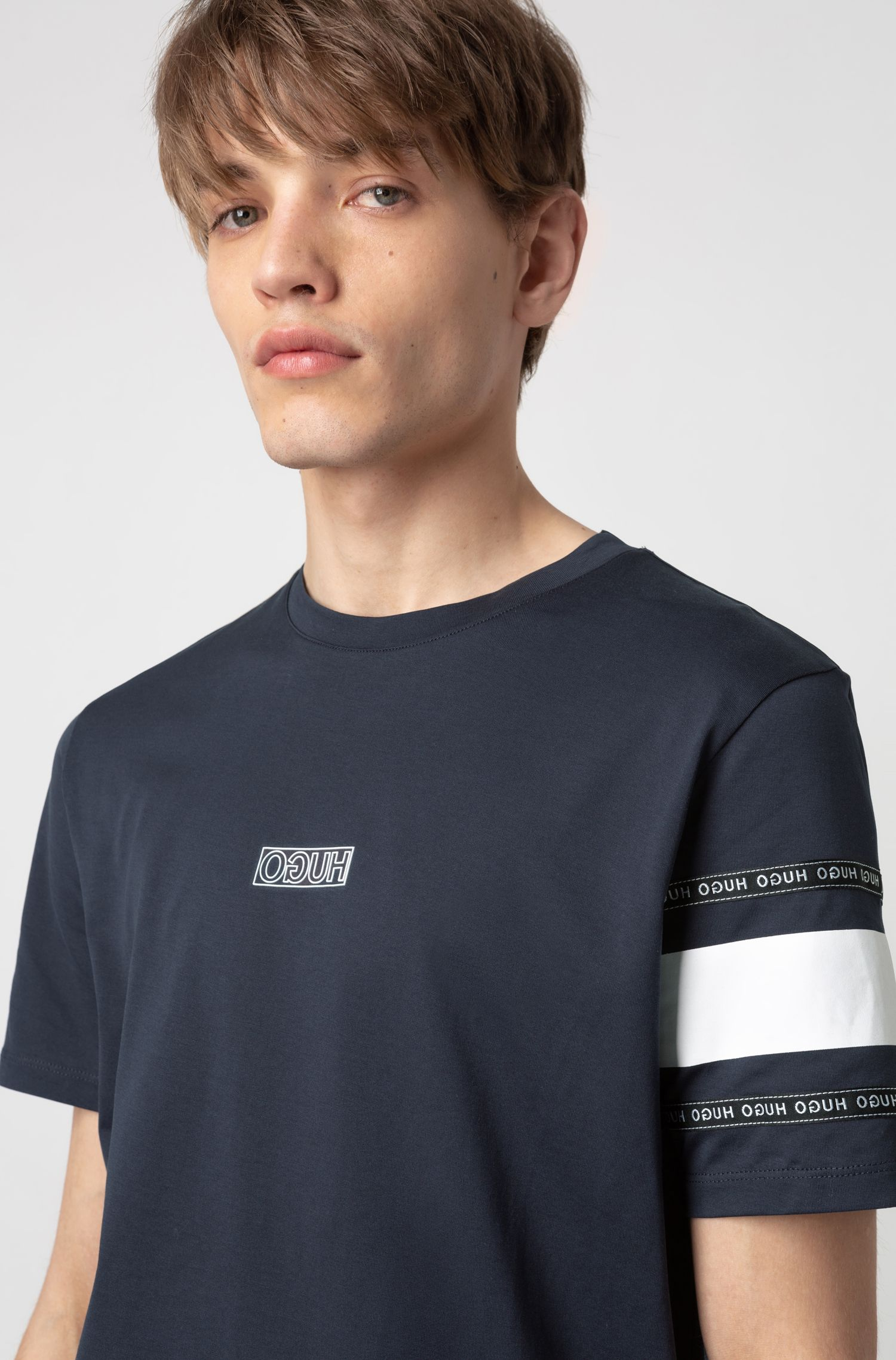 Reverse-logo T-shirt in cotton jersey, Dark Blue