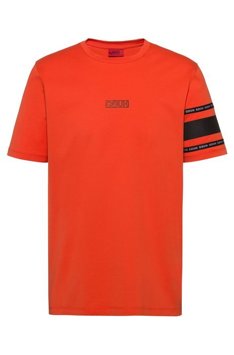 Reverse-logo T-shirt in cotton jersey, Orange