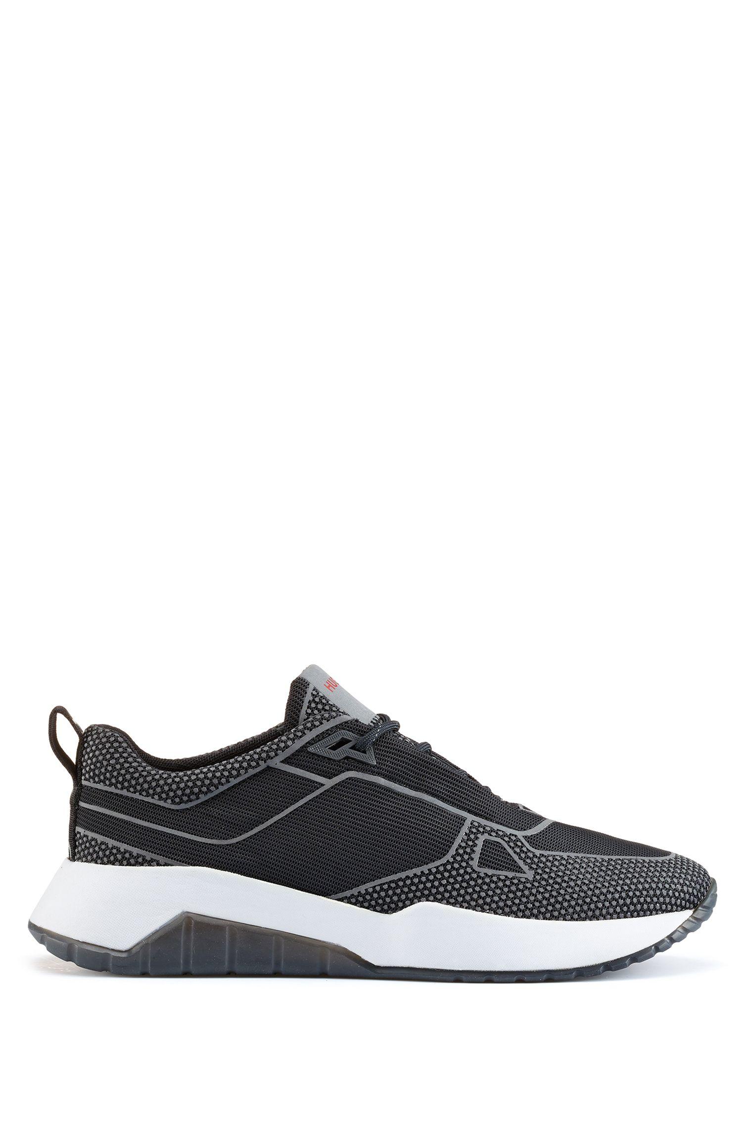 Robuuste sneakers met reflecterende details, Zwart