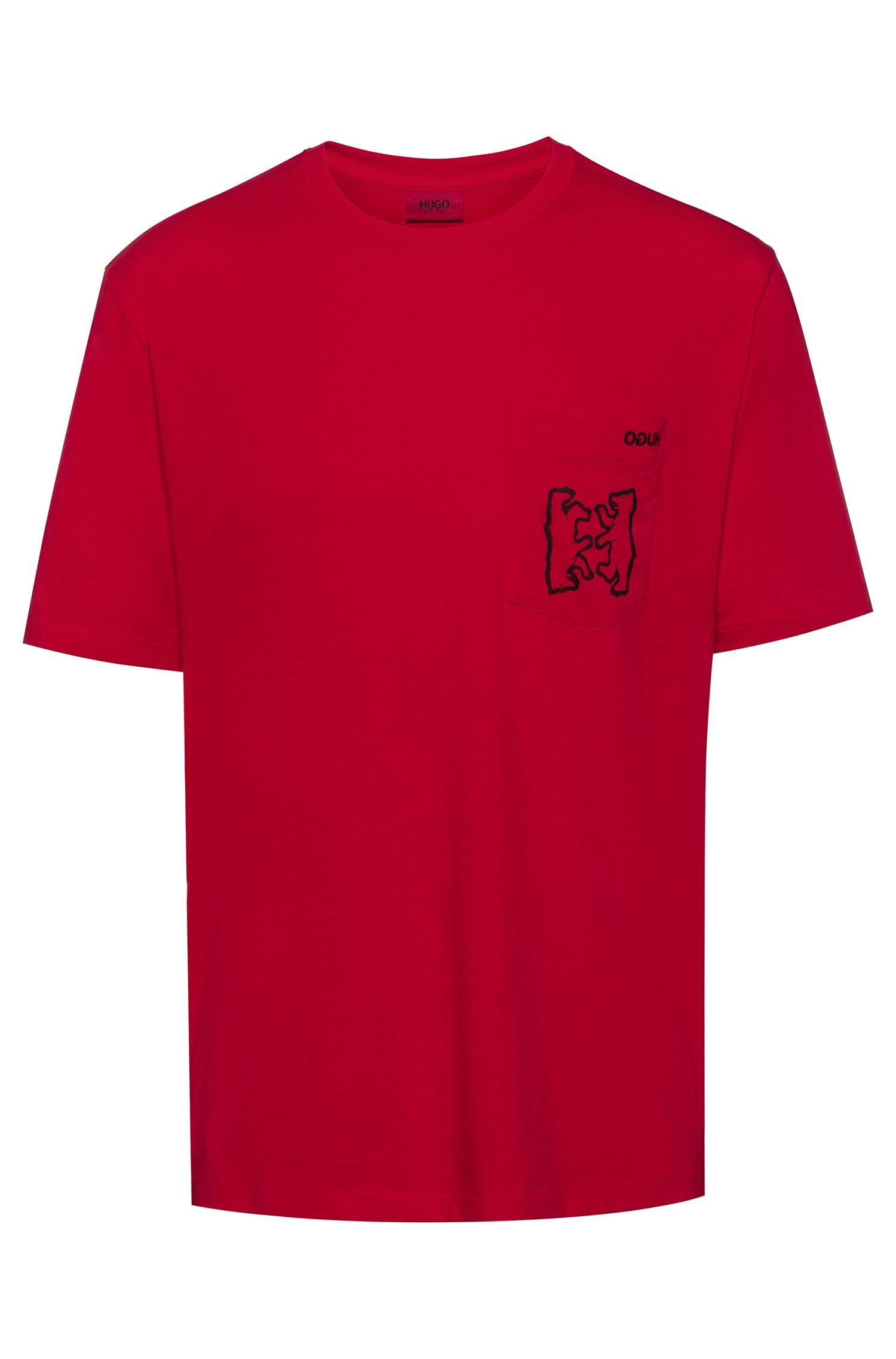 Oversized-fit T-shirt met geribde hals, Rood