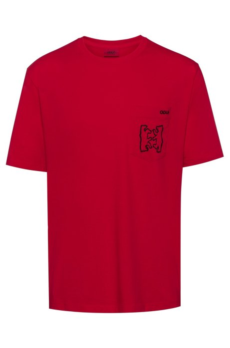 Oversized-fit T-shirt with ribbed neckline, Red