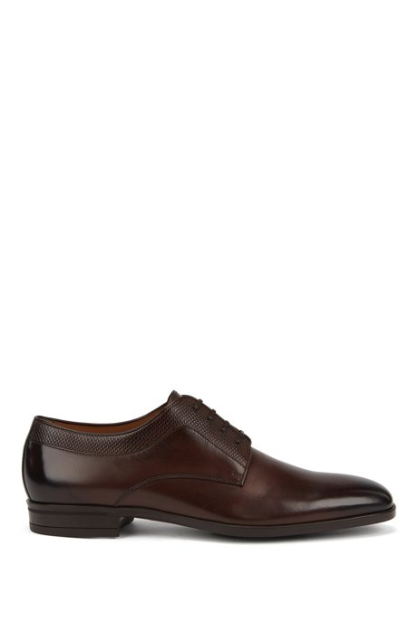 Italian-made Derby shoes in leather with monogram embossing, Dark Brown