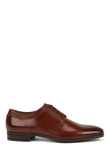 Italian-made Derby shoes in leather with monogram embossing, Brown