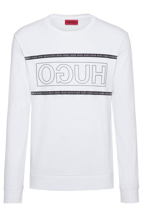 Sweater van interlocked katoen met gespiegeld logo, Wit
