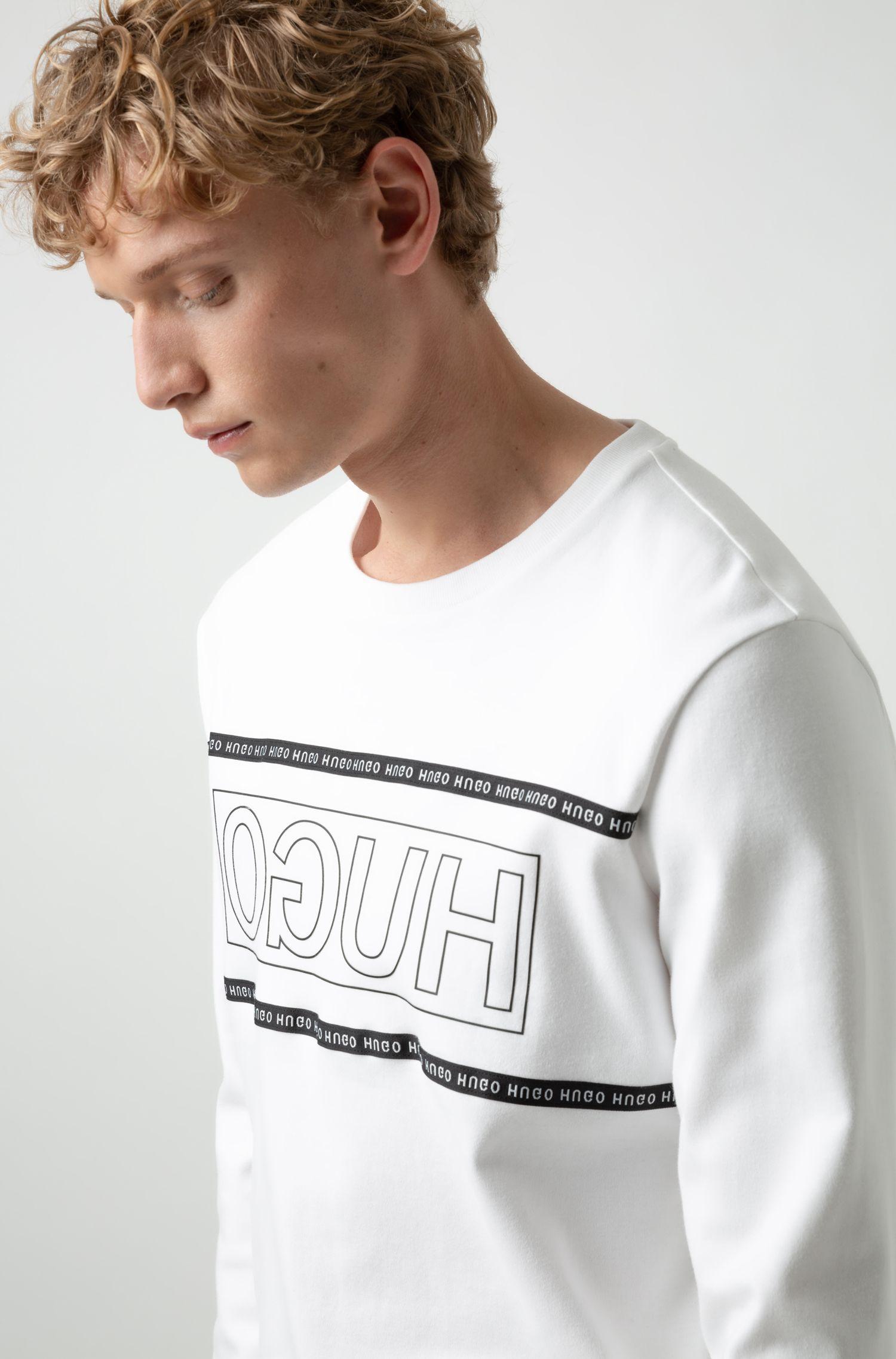 Sweatshirt aus Interlock-Baumwolle mit spiegelverkehrtem Logo, Weiß