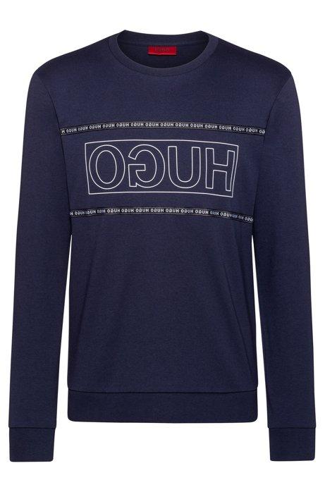 Sweater van interlocked katoen met gespiegeld logo, Donkerblauw