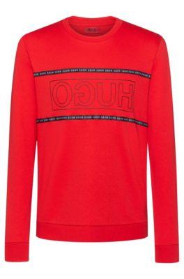 Sweater van interlocked katoen met gespiegeld logo, Rood