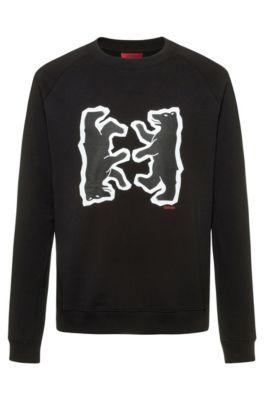 Relaxed-fit sweater van sweatstof met berendessin, Zwart