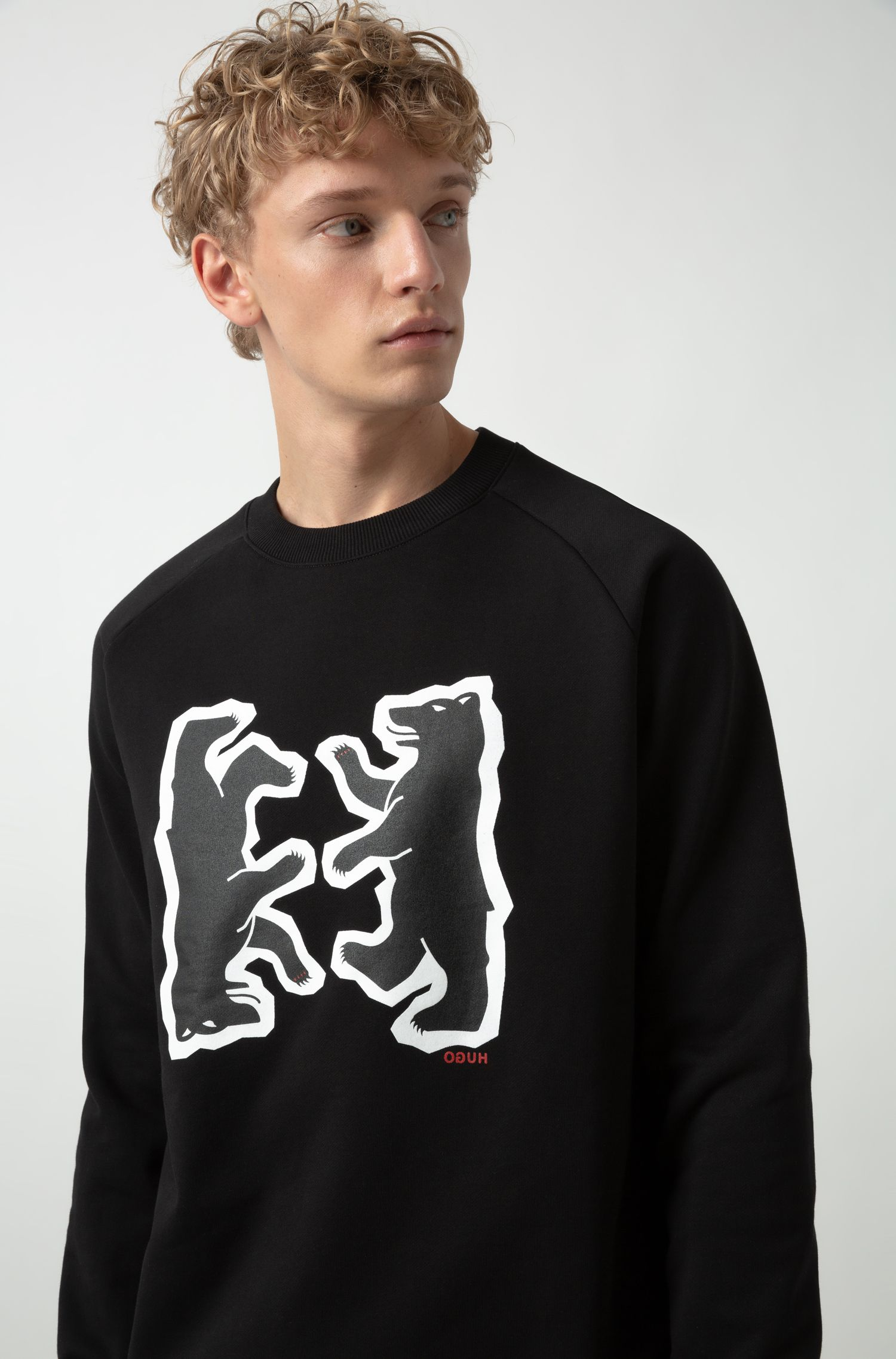 Sweat Relaxed Fit en molleton à motif ours, Noir