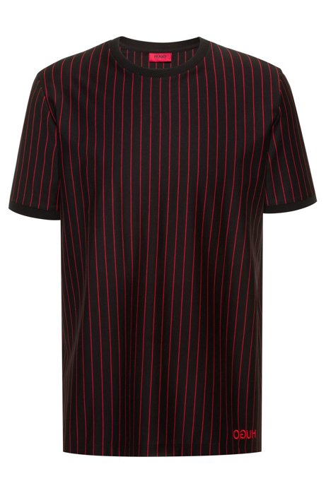 Relaxed-fit high-neck t-shirt in striped cotton, Patterned