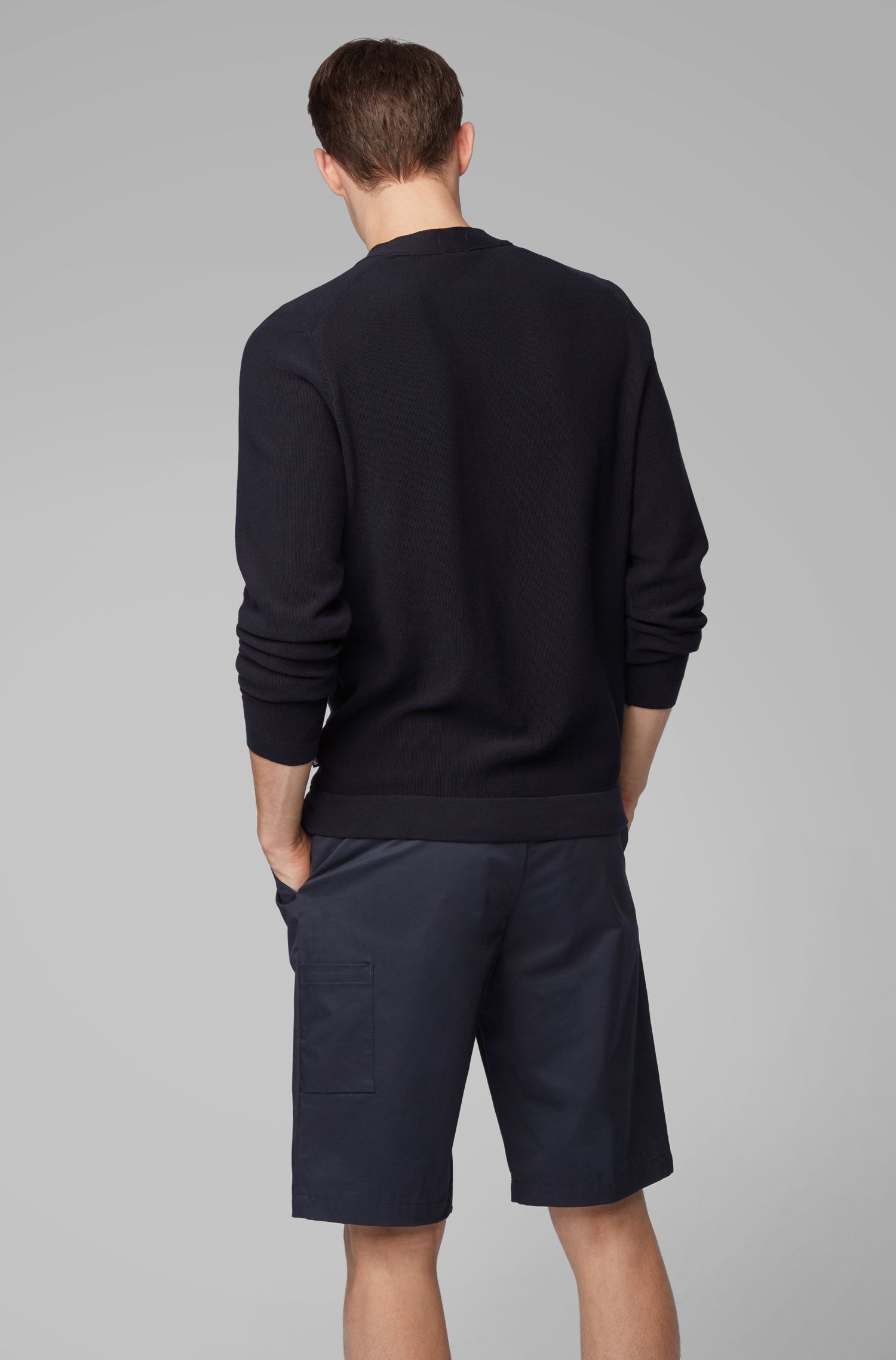 Cardigan con scollo a V in cotone microstrutturato italiano, Blu scuro