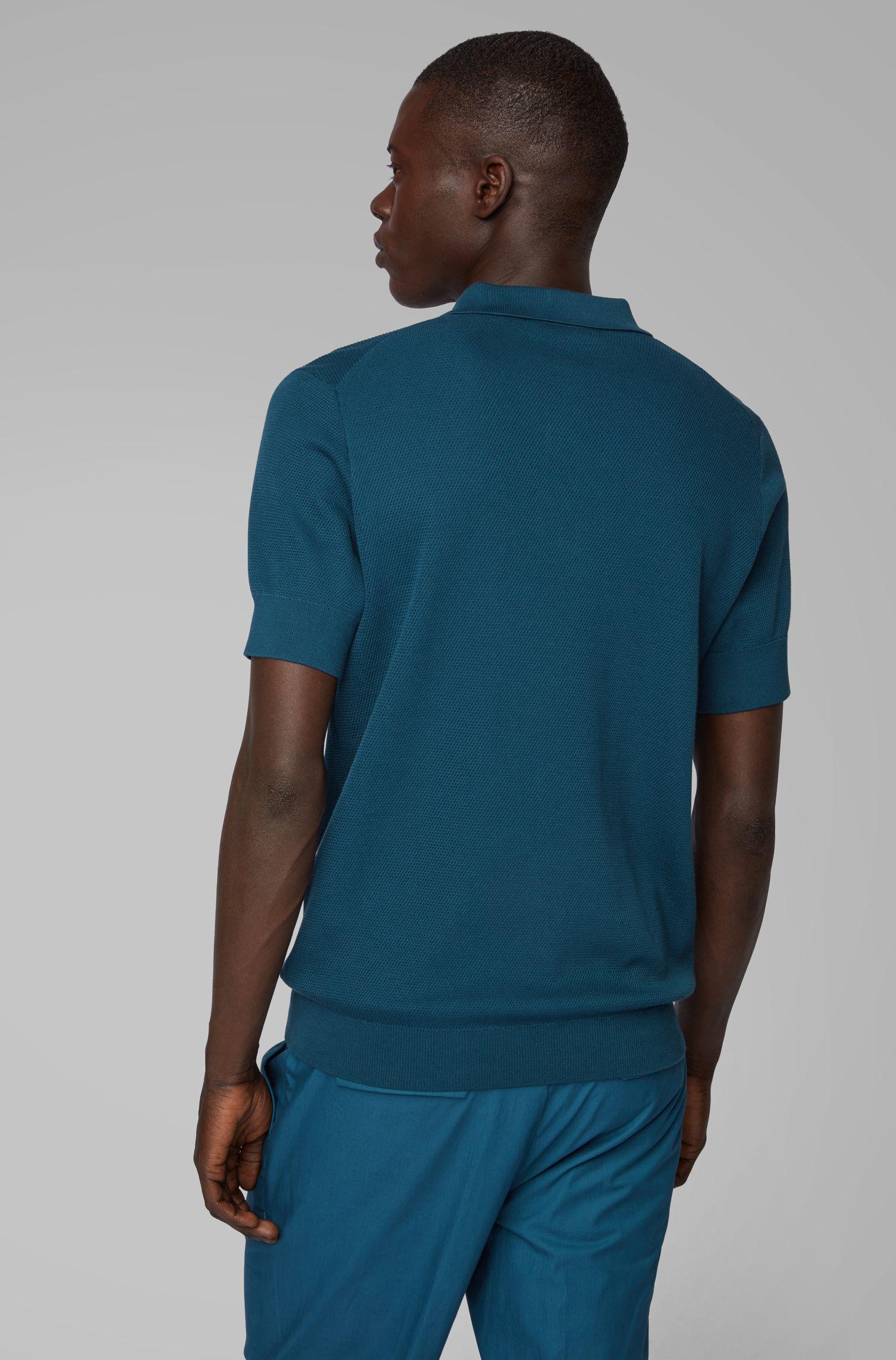 Strick-Poloshirt aus Baumwoll-Mix mit Seide, Blau