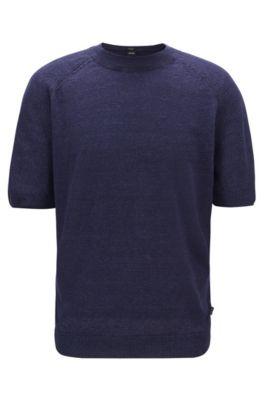 Pull à manches courtes en maille de lin léger, Bleu foncé