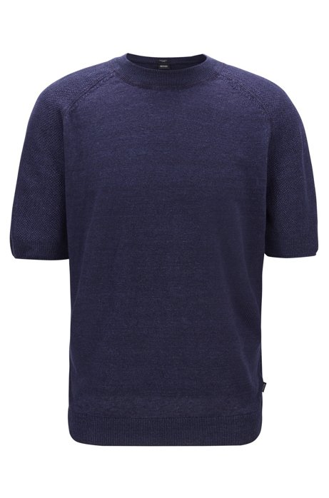 Short-sleeved sweater in lightweight knitted linen, Dark Blue