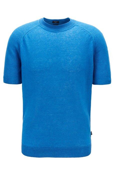 Pull à manches courtes en maille de lin léger, Bleu
