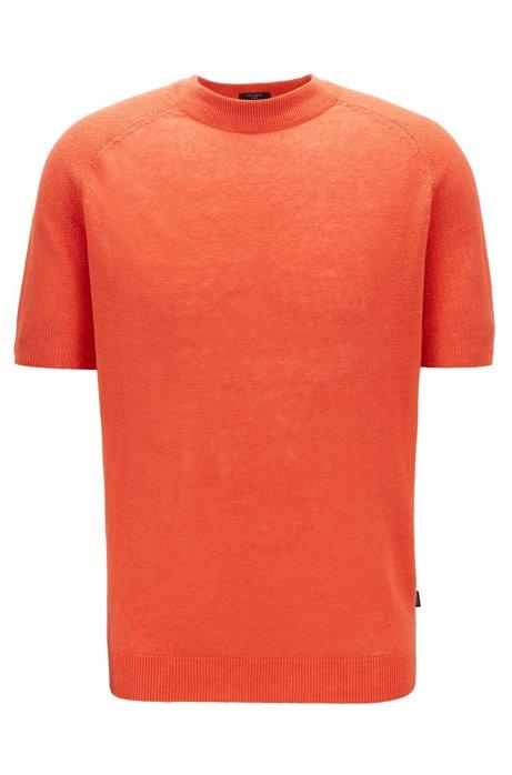 Pull à manches courtes en maille de lin léger, Orange