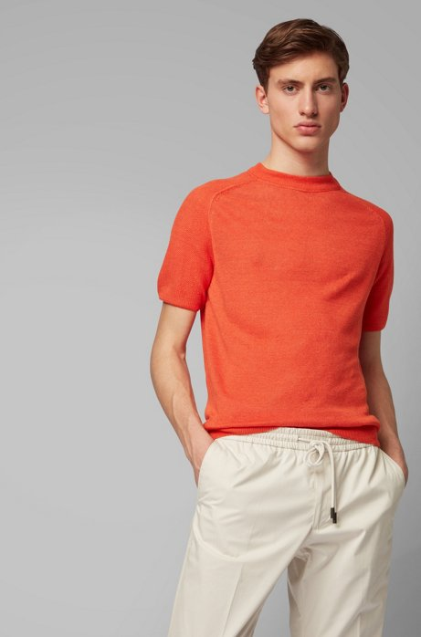 Short-sleeved sweater in lightweight knitted linen, Orange